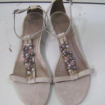 Mootsies Tootsies Ladies Shoes Wedge Strappy Sandal Tan Croc Bead Pearl Size 10m Photo