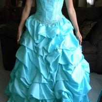 Mori Lee Aqua Ball Gown Prom Dress or Sweet 15 / Sweet 16 Dress  Photo