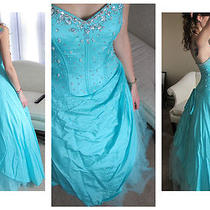 Mori Lee Formal Ball Prom Dress Style 56171 Aqua Turquoise 3/4 Juniors Reduced  Photo