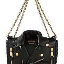 Moschino Biker Jacket Nappa Leather Shoulder Bag Black Shopper Tote Handbag Photo