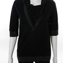 Moschino Black Gray Wool v Neck 3/4 Sleeve Ruffle Button Front Sweater Top Sz 6 Photo
