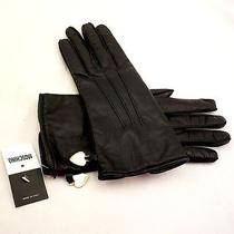 Moschino Black Italian Leather Cashmere Lined Gloves Gold Heart Charm Logo 7(s) Photo