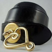 Moschino Black Leather Belt Gold Logo & Heart Buckle Sz M/44. 100% Authentic Photo