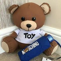 Moschino Blue Mini Compact Umbrella With Cover & Toy Teddy Bear Storage Bnwt Photo