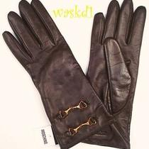 Moschino Brown 7 Leather Double Gold Heart Horsebit Buckles Gloves Nwt Authentic Photo
