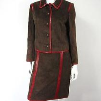 Moschino Cheap and Chic 100% Suede Leather Skirt Suit Size 10 Brown  Photo
