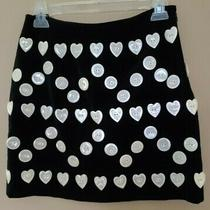 Moschino Cheap and Chic Black Cotton Blend Skirt Ivory Hearts and Circles Size 8 Photo