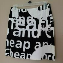 Moschino Cheap and Chic Black Cotton Velvet Cream Letters Skirt Us 8 Photo