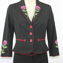Moschino Cheap and Chic Black Floral Pant Suit Blazer Size 8 Small Italy Vintage Photo