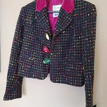 Moschino Cheap and Chic Black Multicolor Tweed Jacket Blazer Buttons Size 8 Photo