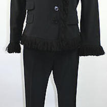 Moschino Cheap and Chic Black Pant Suit Blazer Size10 Small Italy Vintage Photo
