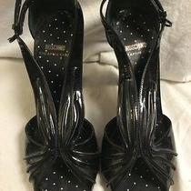 Moschino Cheap and Chic Black Patent Leather Open Toe Heels Size 37m/7 Photo