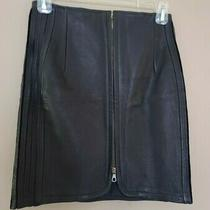 Moschino Cheap and Chic Black Pleated Leather Skirt Size 28 Photo