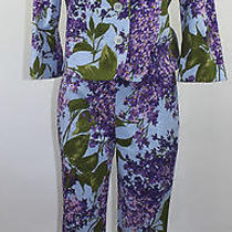 Moschino Cheap and Chic Blue Floral Pant Suit Blazer 10 8 Small Italy Vintage Photo
