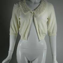 Moschino Cheap and Chic Ivory Short Sleeve Cardigan Sweater Size 44/10 Photo