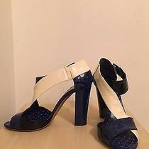 Moschino Cheap and Chic - Patent Leather Heels - Size 7 - Black Navy & Cream Photo