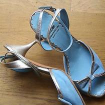 Moschino Cheap and Chic Peep Toe Heels Wedding Shoes Baby Blue Silver 37 7  Photo