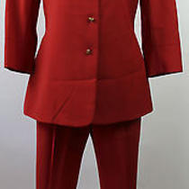 Moschino Cheap and Chic Red Pant Suit Blazer Size 10 Small Italy Vintage Photo