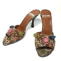 Moschino Cheap and Chic Tapestry Open Toe Heels Slides Italy 38 8  Photo