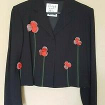 Moschino Cheap and Chic Vintage Black Jacket With Floral Details Size 10 Photo