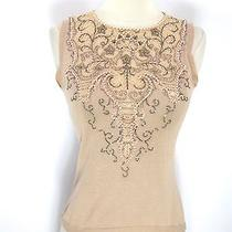 Moschino Cheap and Chic Women Beige Knit Jeweled Sleeveless Tank Top Shirt Sz 8 Photo