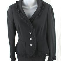 Moschino Cheap and Chic Women's Black Knit Trim Two Pocket Blazer Jacket Size 8 Photo