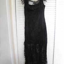 Moschino Cheap & Chic Dress..long  Sheer Lace Black With Lots of Fringe..size 10 Photo