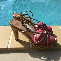 Moschino Cheap & Chic Gold Leather Strappy Platform Sandals Sz 38m Made in Italy Photo