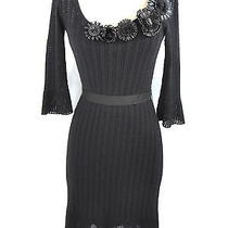 Moschino Cheap & Chic Women Black Knit Dress Floral Appliques Dress Round Neck 6 Photo