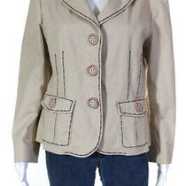Moschino Cheap & Chic Womens Long Sleeve v Neck Blazer Jacket Tan Cotton Size 14 Photo