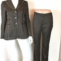 Moschino Cheap & Chip Aeffe Spa Brown Wool Pant Suit Set Blazer  Pants 4 F610 Photo