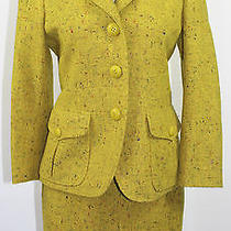 Moschino Couture Yellow Skirt Suit Blazer Tweed Size 8 Small Italy Vintage Photo