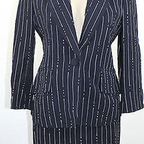 Moschino  Cruise Me Baby Navy Pinstripe Skirt Suit  Size 10 Small Italy Vintage Photo