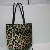 Moschino Designer Leopard Print Design Black Leather Double Strap Handbag  Photo