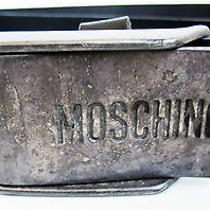 Moschino Distressed Seat Belt Buckle Black Leather Belt Size 95/37.5