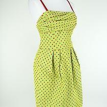 Moschino Dress Cheap & Chic Size 8 Green Red Corset Spaghetti Strap Polka Dot Photo