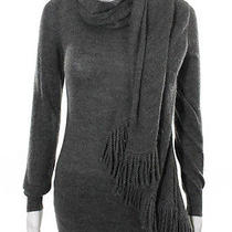 Moschino Gray Turtleneck Wool Sweater With Side Fringe Detail Sz 4 Photo