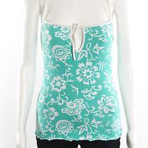 Moschino Green White Floral Spaghetti Strap Stretch Knit Tank Top Sz M Photo