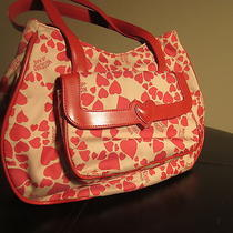 Moschino Handbag Red Hearts Satchel Leather Italydesignerleather &hearts Accents Photo