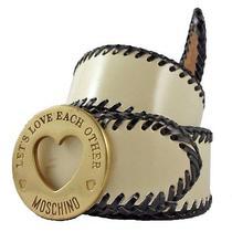 Moschino Ivory/black Leather Belt W/ Gold Logo Buckle Sz M/44. 100% Authentic Photo