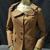 Moschino Jacket Blazer Vintage Deconstructed Cowl Neck 3 Button S10 Plaid Clasic Photo