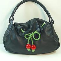 Moschino Jeans Black Leather Hobo With Green Trim Belt and Cherries Photo