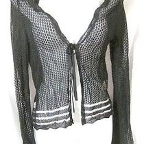 Moschino Jeans Black Open Crochet Sheer Cardigan in 100% Viscose 32