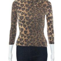 Moschino Jeans Brown Black Cheetah Print Turtleneck Sweater Sz 6 Photo