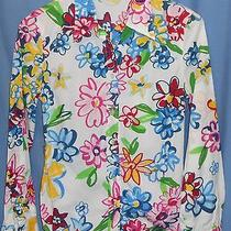 Moschino Jeans Donna Italy Bright Colorful Floral Daisy Button Shirt 6 Photo
