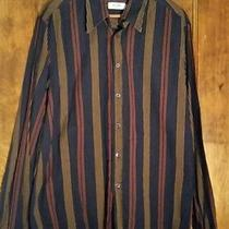 Moschino Jeans Mens Navy Blue Button Front Striped Long Sleeve Shirt Sz Large Photo