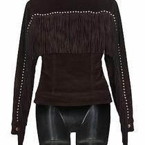 Moschino Jeans Vintage Women's Fringe Warm Jacket  Corduroy Brown Size 38 Us 4 Photo