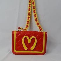 Moschino Junk Food Capsule Collection Red Leather Handbag 1265.00 Msrp Photo