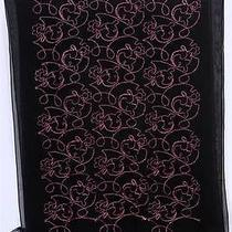 Moschino Larioseta Como Black Chiffon Silk Pink Embroidered Scarf 59 X 23 Photo