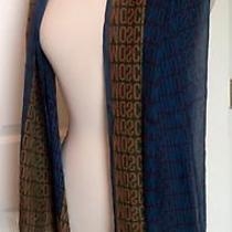 Moschino Larioseta Italy 100% Silk Teal Green Logo Printed Scarf Wrap Long Large Photo